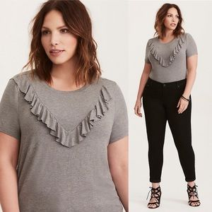 Torrid Super Soft Knits Gray Ruffle Neck Blouse